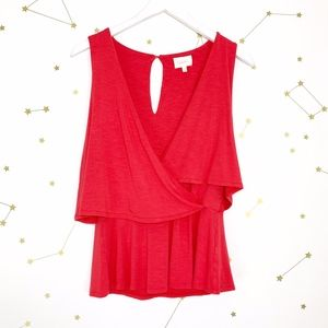 Anthro • Deletta Red Velma Tiered Wrap Tank Top XS